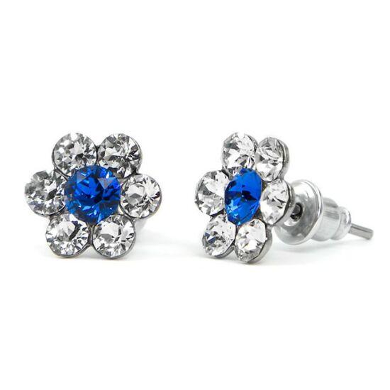 Kis virágos Swarovski® kristályos nemesacél fülbevaló - sötétkék