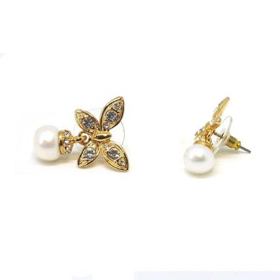 Kristályos és gyöngyös, pillangós fülbevaló, arany színű
