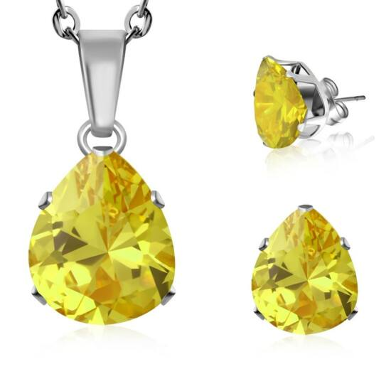 """""""Libra"""" nemesacél ékszerszett sárga, csepp alakú cirkónia kővel - nyaklánc és fülbevaló"""