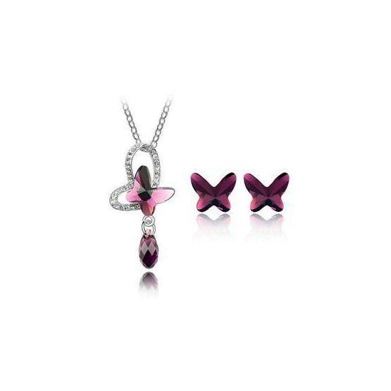 Lila pillangós Swarovski kristályos szett 4205