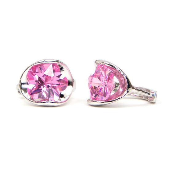 Luna Swarovski kristályos fülbevaló - Rózsaszín virág