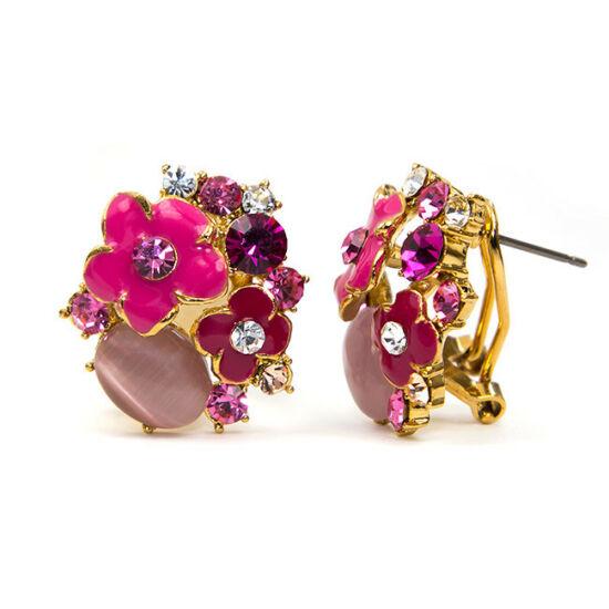 Maddy Swarovski kristályos fülbevaló Pink kövekkel