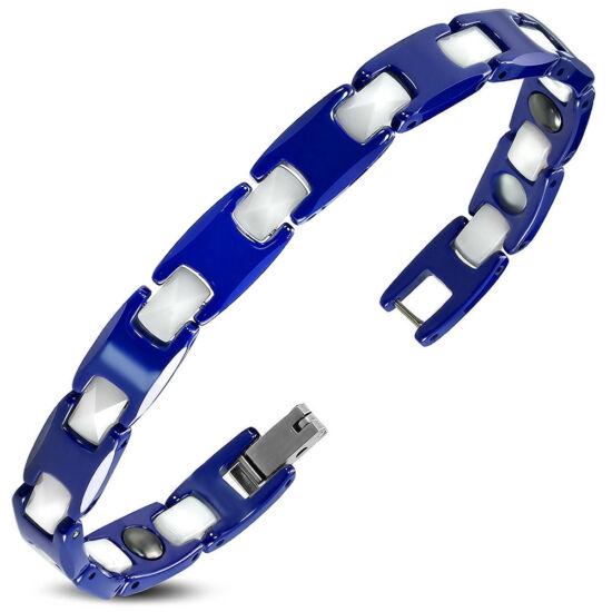 Mágneses, exkluzív kék és fehér színű kerámia nemesacél karlánc ékszer