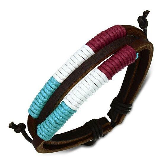 Magyar trikolor bőr karkötő