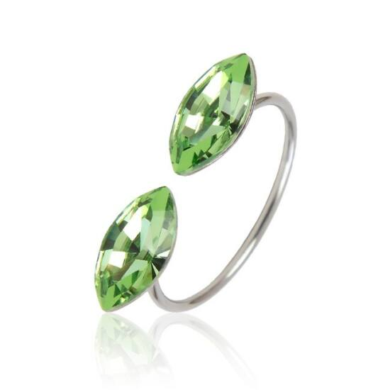 Marquise Swarovski® kristályos nemesacél gyűrű - Peridot