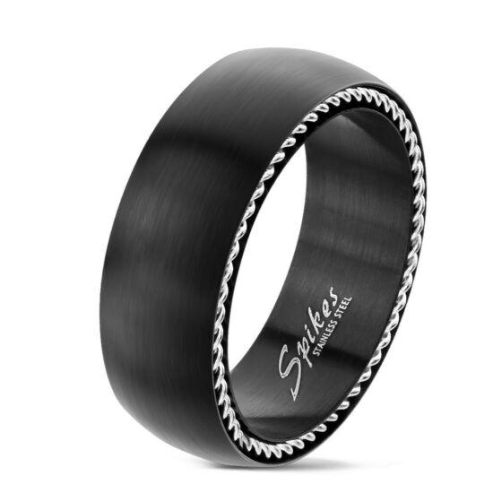 Matt fekete színű nemesacél gyűrű, szélein ezüst színű díszítéssel-9