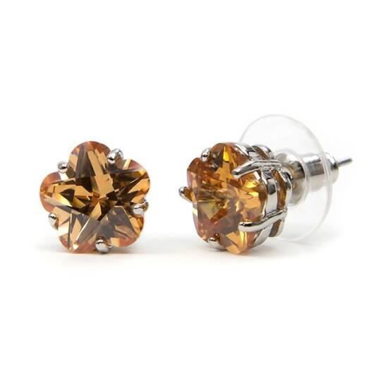 Molly Swarovski kristályos virág alakú fülbevaló - Borostyán