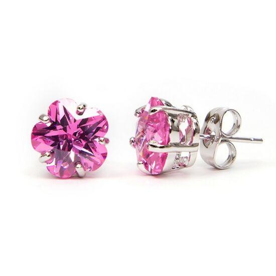 Molly Swarovski kristályos virág alakú fülbevaló - Pink