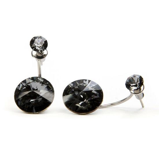 Moon Swarovski® kristályos nemesacél fülbevaló - Fekete