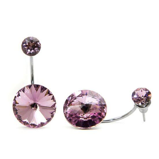 Moon Swarovski® kristályos nemesacél fülbevaló - Light Rose