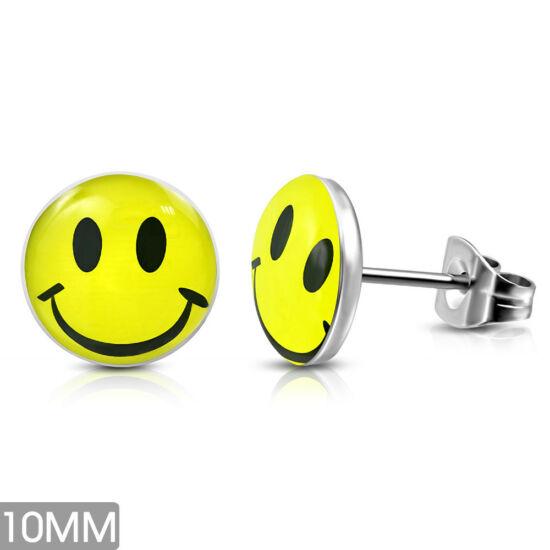 Mosolygó smiley pont nemesacél fülbevaló ékszer