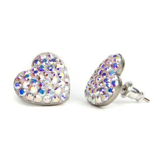 Nagy szives Swarovski kristályos nemesacél fülbevaló - Crystal AB
