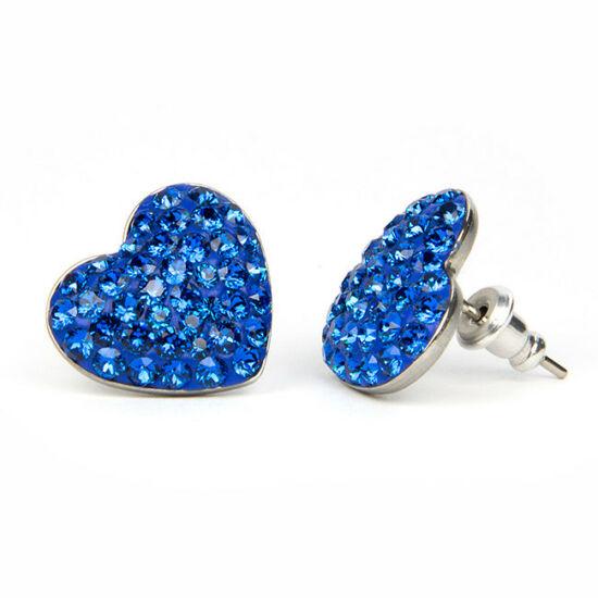 Nagy szíves Swarovski® kristályos nemesacél fülbevaló - Kék