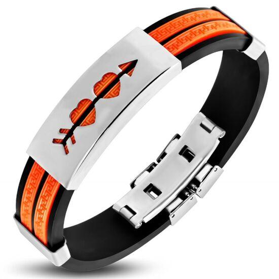 Narancssárga és fekete színű kaucsuk karkötő ékszer