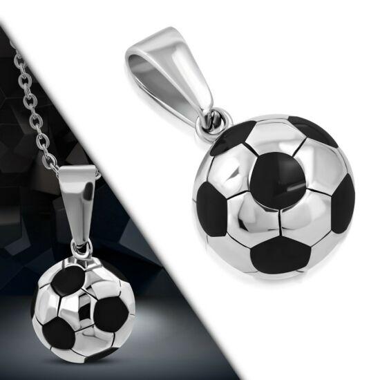 Nemesacél focilabda medál, ezüst színű