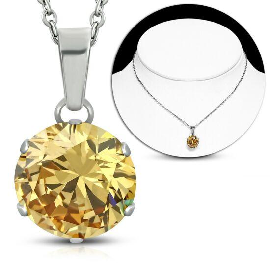 Nemesacél nyaklánc, pezsgő színű cirkónia kristály medállal