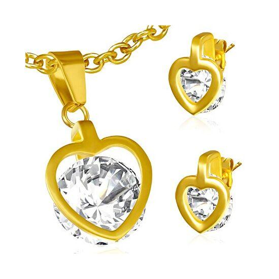 Nemesacél Szív alakú csiszolt kristályos medál és fülbevaló szett