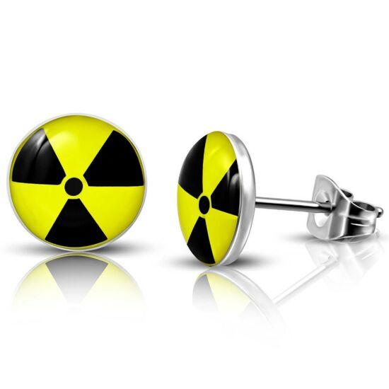 Nuclear energy mintájú pont nemesacél fülbevaló ékszer