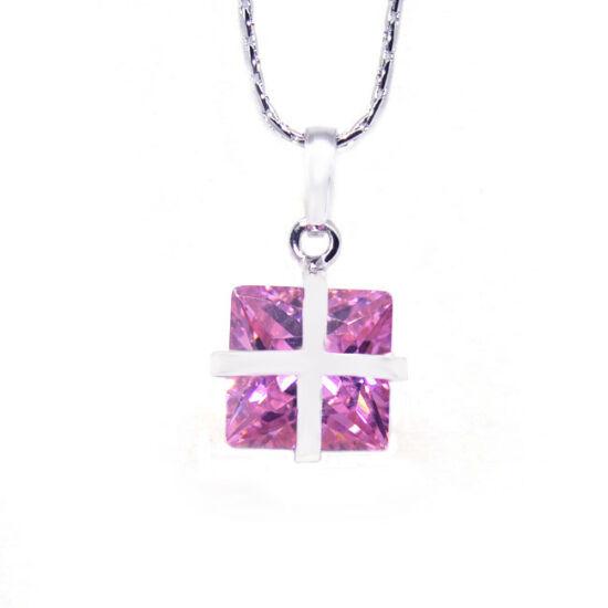 Nyaklánc Swarovski kristályos rózsaszin  medállal