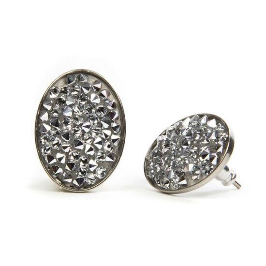 Ovális Swarovski kristályos nemesacél fülbevaló - Crystal