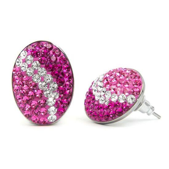 Ovális Swarovski® kristályos nemesacél fülbevaló - Pink