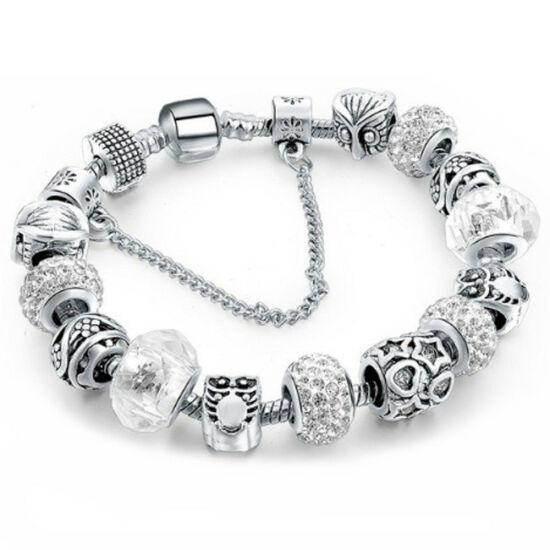 Pandora stílusú kristályos karkötő - Fehér
