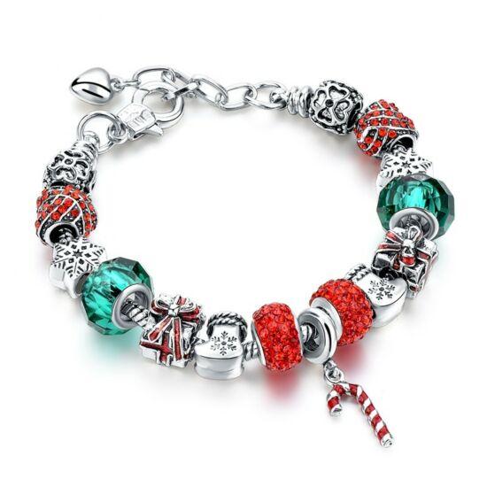 Pandora stílusú kristályos karkötő - karácsony