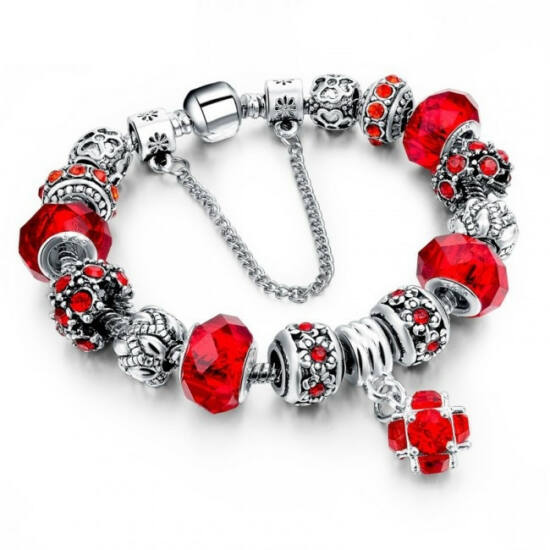 Pandora stílusú kristályos karkötő - piros