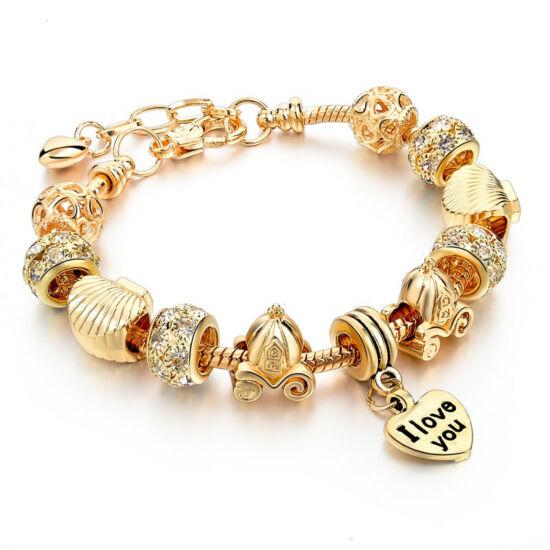 Pandora stílusú kristályos karkötő szív függővel - arany