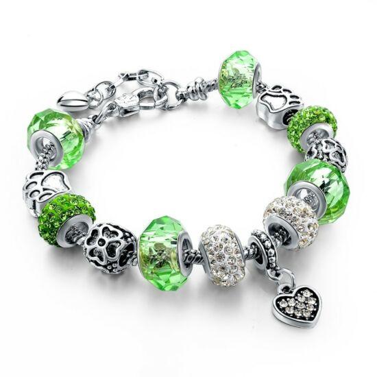 Pandora stílusú kristályos karkötő - zöld