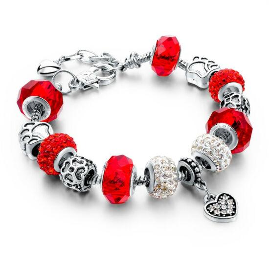 Pandora stílusú szives kristályos karkötő - Piros
