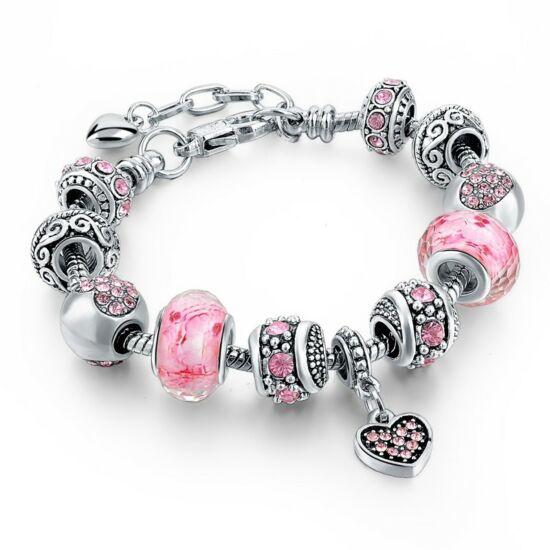 Pandora stílusú szíves kristályos karkötő - Rózsaszín