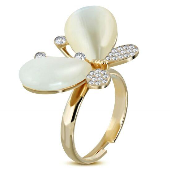 Pillangó formájú, állítható nemesacél gyűrű ékszer, cirkónia kristállyal