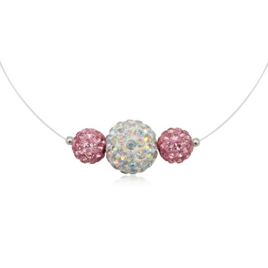 Pink és fehér színű ezüst nyaklánc - 925 ezüst ékszer