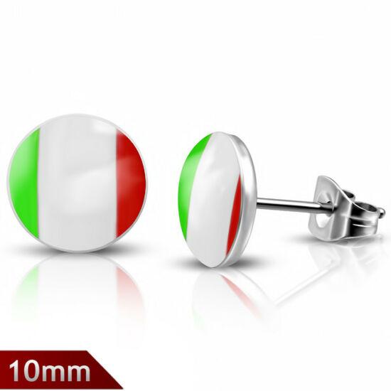 Piros-fehér-zöld színű pont nemesacél fülbevaló ékszer