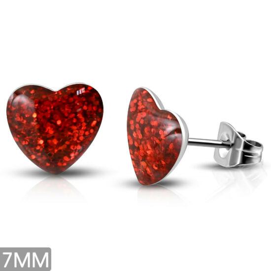 Piros kristály mintás, szív alakú nemesacél fülbevaló ékszer