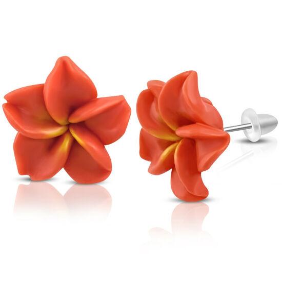 Piros pluméria virág fülbevaló