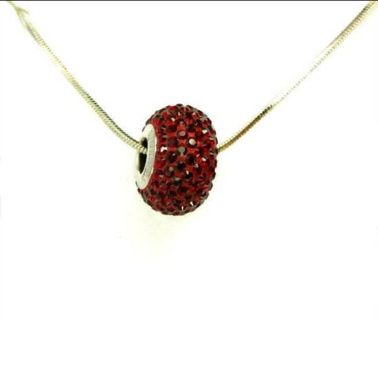 Piros Swarovski® kristályos nyaklánc - Pavé Beads 14 mm, Siam +Díszdoboz