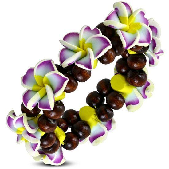 Pluméria virágos bizsu karkötő - Lila
