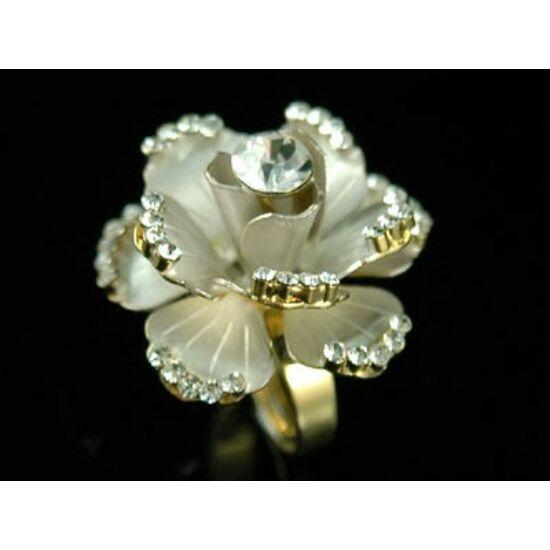 Rózsás  swarovski kristályos gyűrű 061