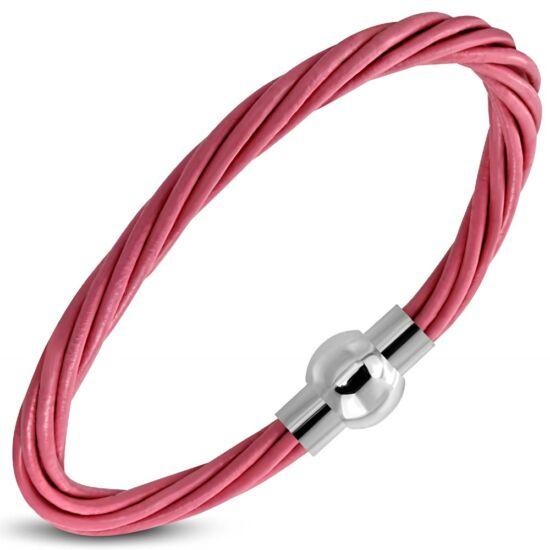 Rózsaszín bőr karkötő ékszer, mágneses nemesacél zárral