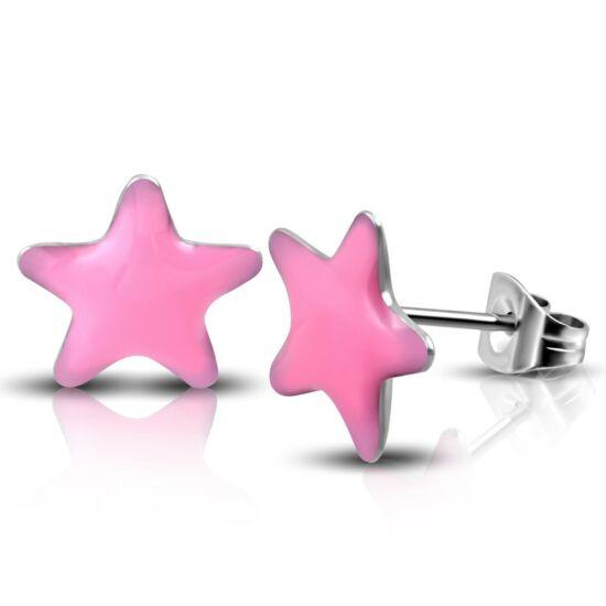 Rózsaszín, csillag formájú pont nemesacél fülbevaló ékszer