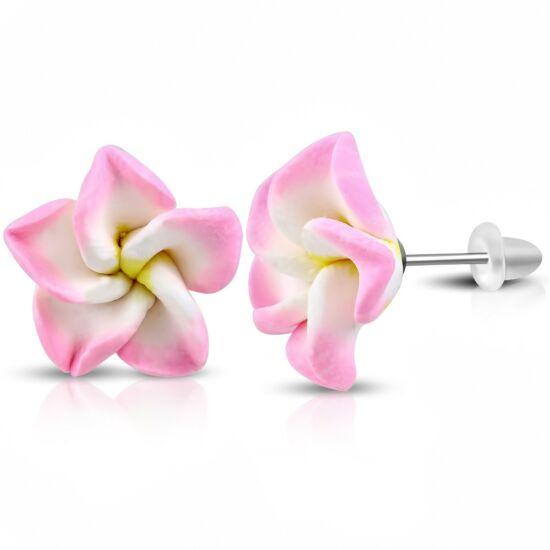Rózsaszín-fehér pluméria virág fülbevaló