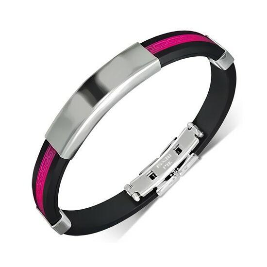 Rózsszín és fekete színű, gravírozható kaucsuk karkötő ékszer