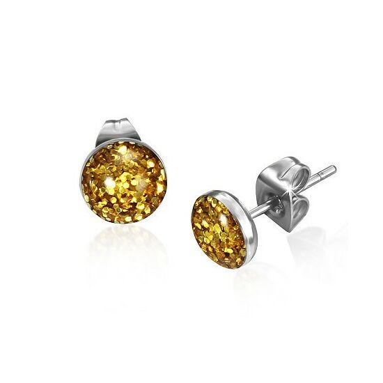 Sárga és arany kristály mintás pont nemesacél fülbevaló ékszer