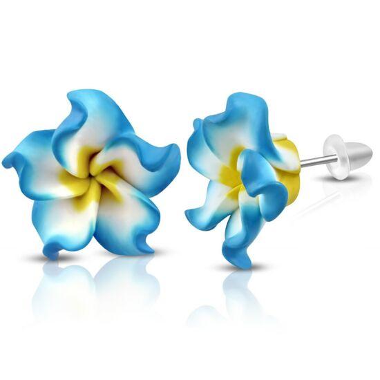 Sárga-fehér-kék pluméria virág fülbevaló