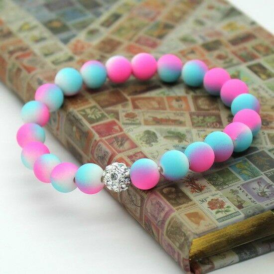 Shamballa karkötő - pink & kék