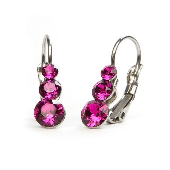 Snowman Swarovski® kristályos nemesacél fülbevaló - Pink