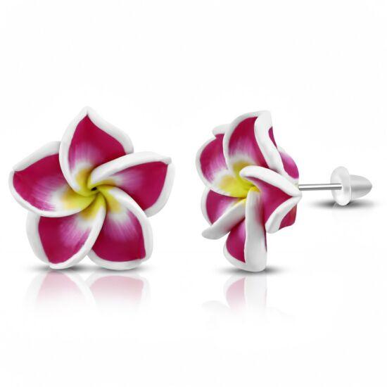 Sötétrózsaszín-fehér pluméria virág fülbevaló