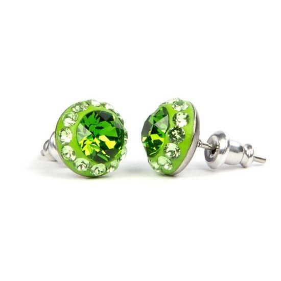 Suny Swarovski kristályos nemesacél fülbevaló - Zöld